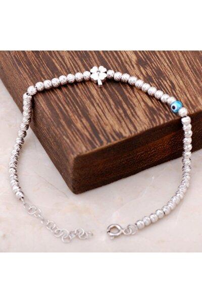 Dorissa Yonca Tasarımlı Rodyumlu Gümüş Bileklik 2283