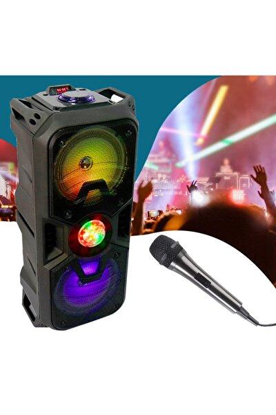 Akıllı Taşınabilir Bluetooth Extrabas Hoparlör, Disko Işıklı Karaoke Ses Sistemi, Mikrofon, Kumanda