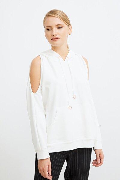 Kadın Kemik Omuzları Açık Kapüşonlu Sweatshirt