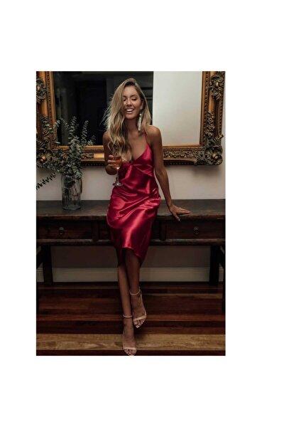 Saten Sırt Dekolteli Uzun Elbise Kırmızı