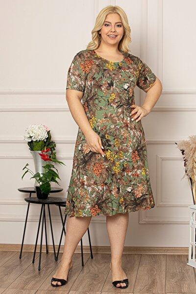 Kadın Büyük Beden Yeşil Çiçek Baskılı Viskon Elbise