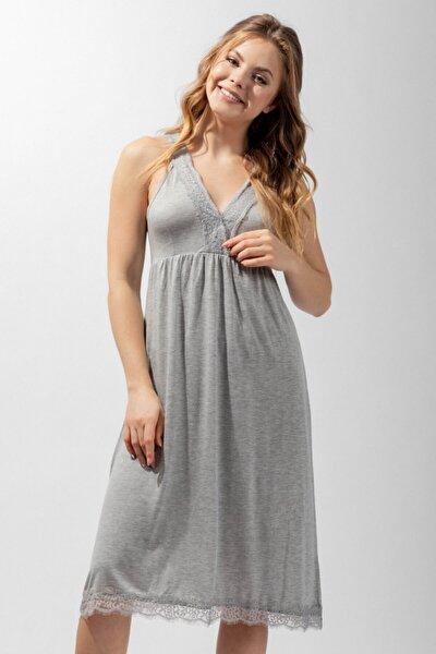 Silver Line Lace Kadın Gecelik - Gri