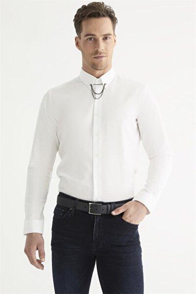 Gk 557 Slim Fit Beyaz Klasik Gömlek