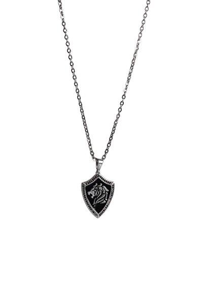 Gümüş Kaplama Aslan Figürlü Kolye Gri Renk 00595