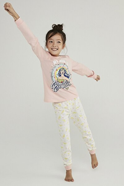 Çok Renkli Kız Çocuk Wonder Woman Stars 2li Pijama Takımı