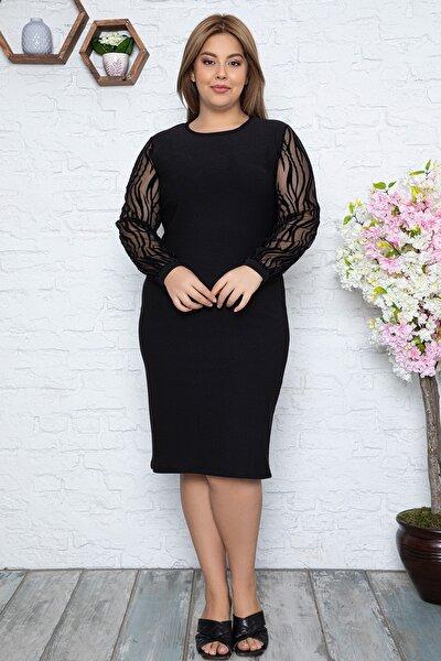 Kadın Büyük Beden Flok Desenli Şifon Kol Elbise