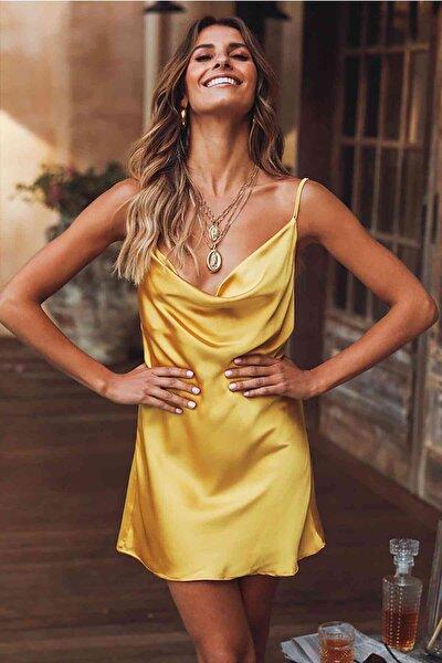 Gögüs Degajeli Saten Elbise Sarı