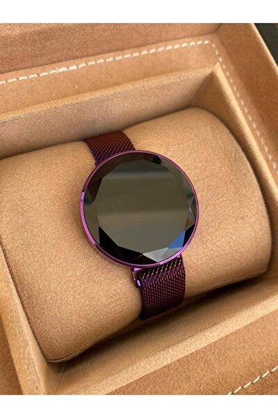 Mor Renk Hasır Mıknatıslı Kordon Dokunmatik Kadın Saati