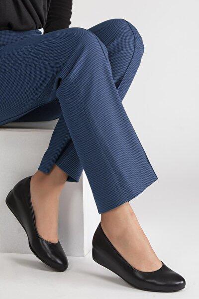 Hakiki Deri Siyah Cilt Kadın Dolgu Topuklu Deri Ayakkabı Shn-0183