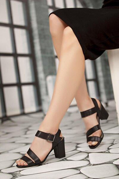 Hakiki Deri Siyah Kadın Topuklu Deri Ayakkabı Shn-0231