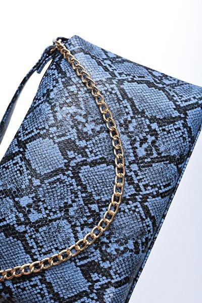 Kadın Krokodil Mavi Omuz Çantası