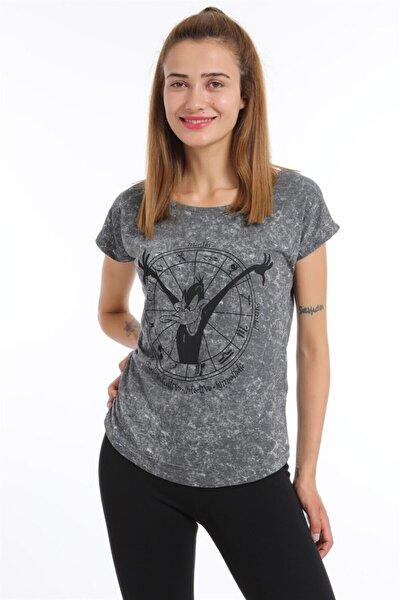 Sırt Lazerli Daffy Duck Baskılı Tshirt - Füme