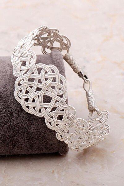 Aşk Düğümü Kazaziye Işlemeli Gümüş Bileklik 3406