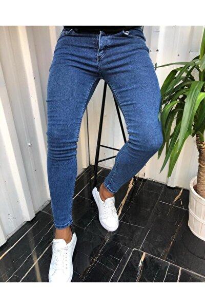 Erkek Jean Italyan Kesim Mavi Lazerli Denım Kot Pantolon