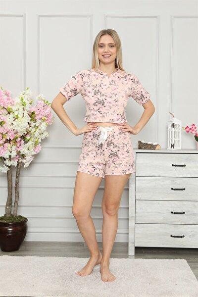 Patlı Fiyonk Detaylı Çiçek Desenli Pijama Takımı 1610-37