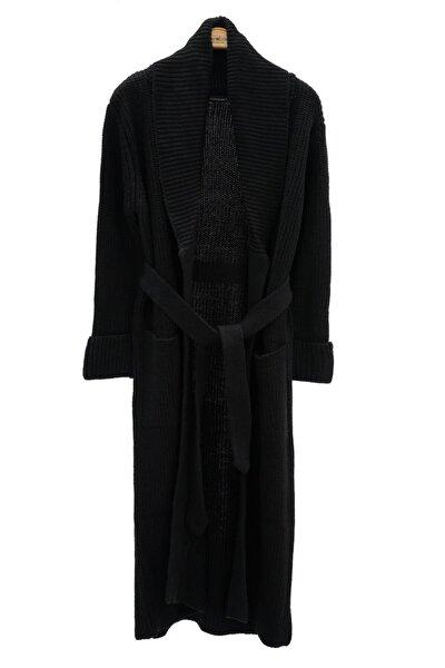 Siyah Selanik Cepli Uzun Kadın Triko Hırka