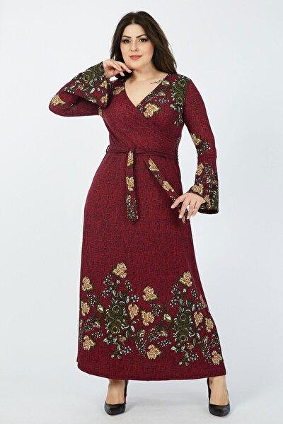 Kadın Büyük Beden Bordo Çiçek Desenli Kruvaze Yaka Volan Kol Elbise