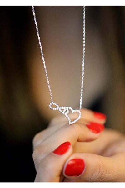 925 Ayar Zirkon Taşlı Kalp&sonsuzluk Model Hayalet Kolye