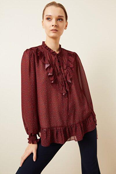 Kadın Bordo Desenli Yakası Fırfırlı Bluz