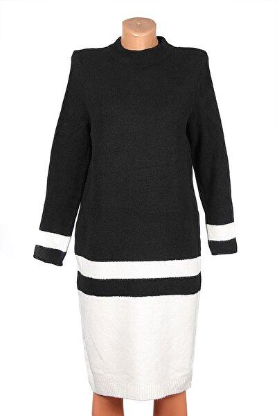 Siyah Alt Tarafı Krem Rengi Yün Elbise