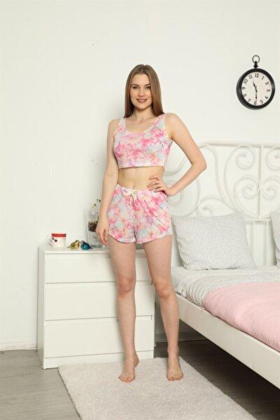 Gökkuşağı Büstiyerli Şortlu Pijama Takımı 3055-37