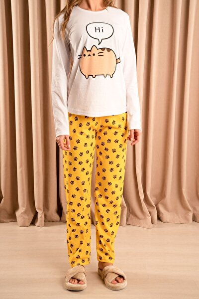 Hi Kedi Baskılı Pijama Takımı Beyaz/hardal