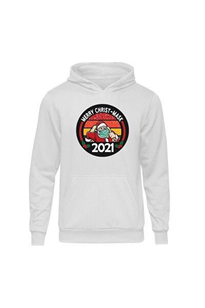 Yılbaşı Santa Mask Beyaz Kapşonlu Hoodie Sweatshirt