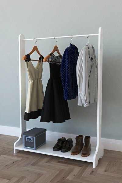 Tek Raflı Ayaklı Portmanto Askılık, Konfeksiyon Elbise Askısı Beyaz