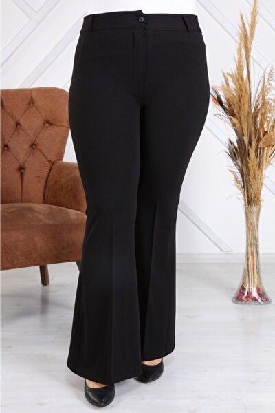 Giyim>büyük Beden>büyük Beden Ispanyol Paça Kumaş Pantolon