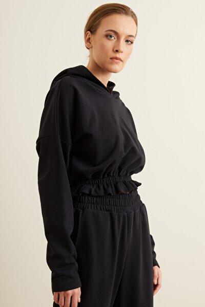 Kadın Siyah Kapüşonlu Crop Sweatshirt