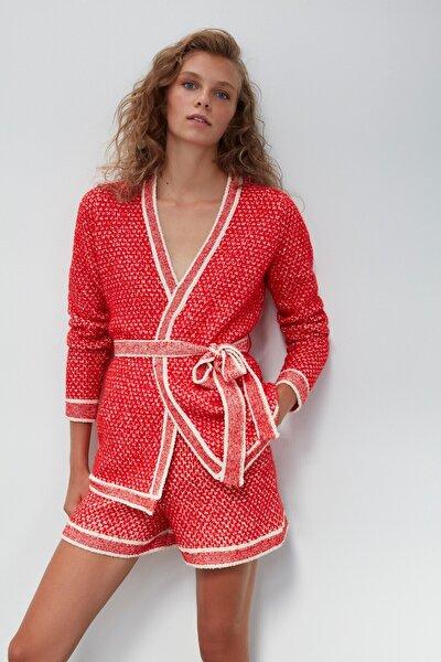 Kuşaklı Triko Ceket-kırmızı