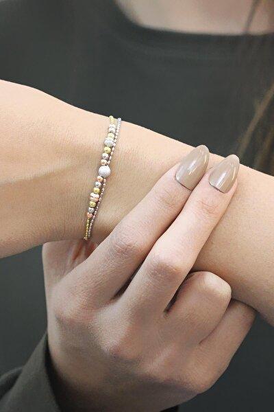 Dorissa Altın Yaldızlı Rose Gümüş Bileklik 3522