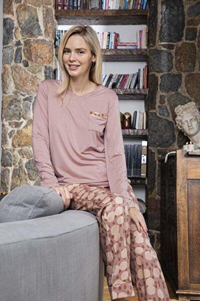 Kadın Poplin Altı Desenli Üstü Düz Pijama Takımı