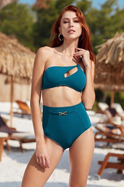 Aksesuarlı Dekolteli Tek Omuz Bikini Takımı 201275