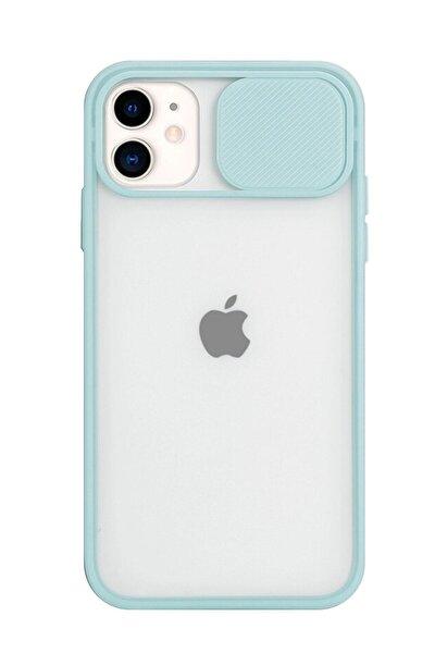 Iphone 11 Kamera Slayt Korumalı Turkuaz Şeffaf Telefon Kılıfı