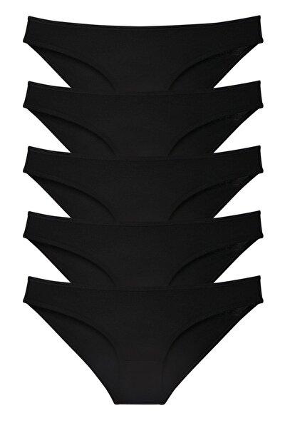 Kadın 5'li Siyah Klasik Slip Külot