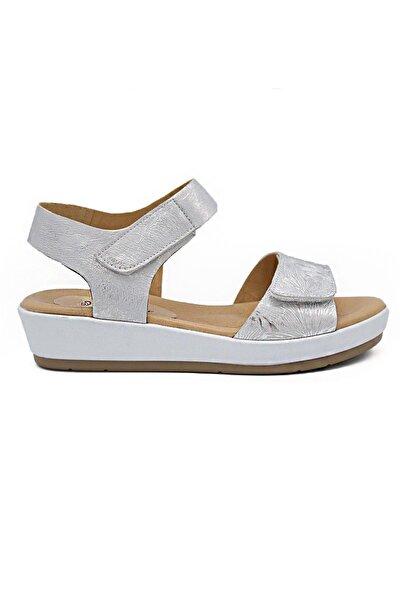 Kadın Ortopedik Deri Sandalet Pasadena Gümüş