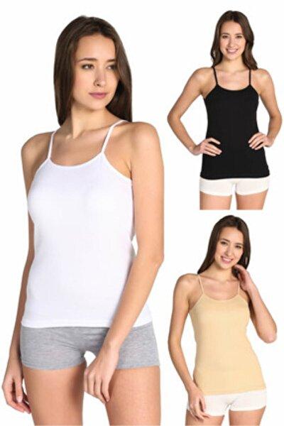 Kadın 2 Adet Beyaz, 2 Adet Siyah, 2 Adet Ten Rengi, 2 Adet Gri Ribana Ip Askılı Atlet