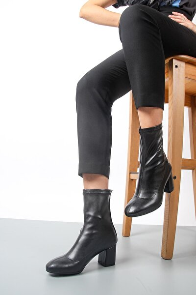 Kalın Topuk Siyah Streç Kadın Bot