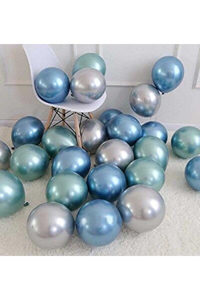 Krom Parlak Metalik Yeşil-mavi-gümüş Renk 20'li Balon ( 3'lü Renk Seti )