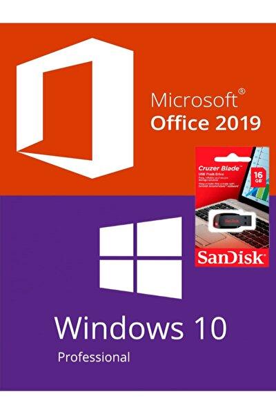 Windows 10 Pro Lisans + Office 2019 Key + Windows Yüklü Sandisk 16 Gb Usb - Ömür Boyu Kullanım