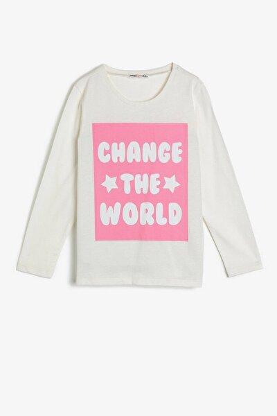 Koton Kız Çocuk Ekru Yazılı Baskılı T-shirt 0ykg17185ok