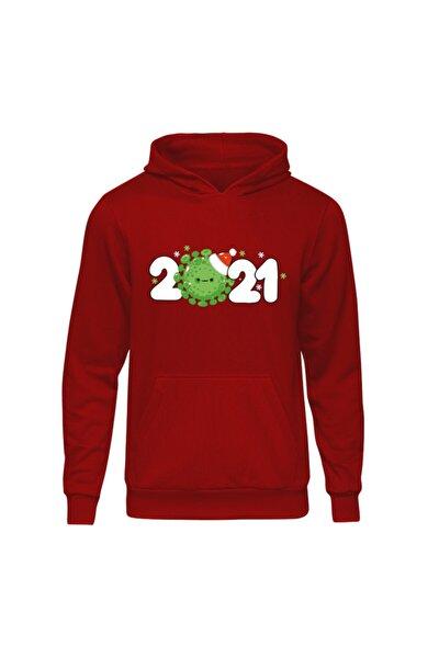 Yılbaşı Virus 2021 Kırmızı Kapşonlu Hoodie Sweatshirt
