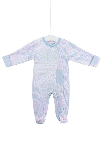 Kız Bebek mavi 6676  Pamuklu Patikli Tulum