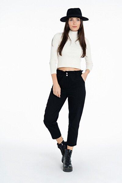 Beli Fırfırlı Boyfrend Pantolon K-3848 Siyah
