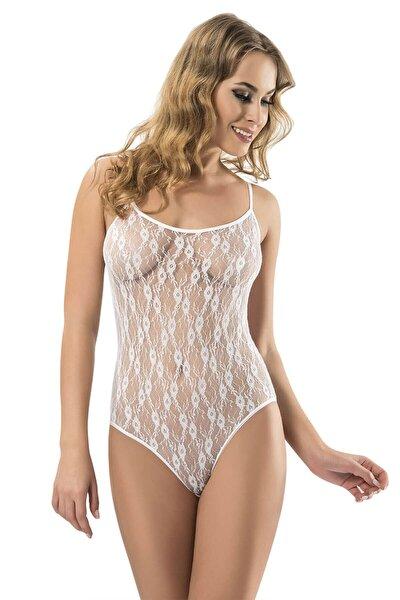 Kadın Beyaz Dantelli Body-558