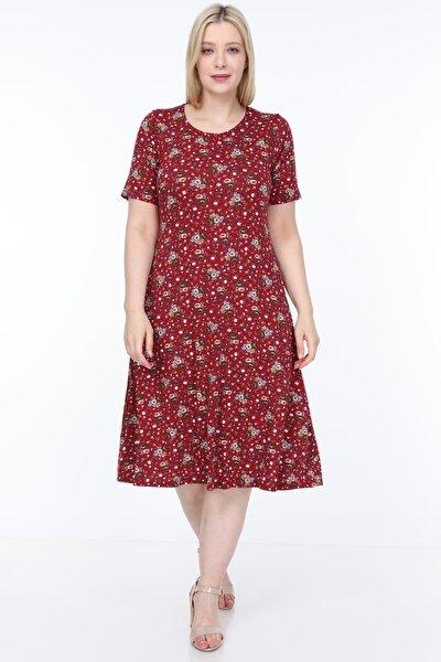 Kısa Kollu Desenli Geniş Elbise
