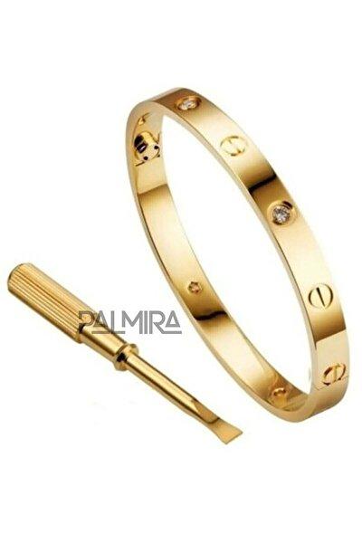 Altın Renk Cartier Love Taşlı Çelik Bileklik