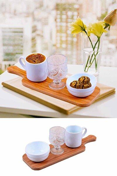 Tek Kişilik Standlı Türk Kahve Fincanı Sunum Seti 4 Parça Kahve Takımı Beyaz