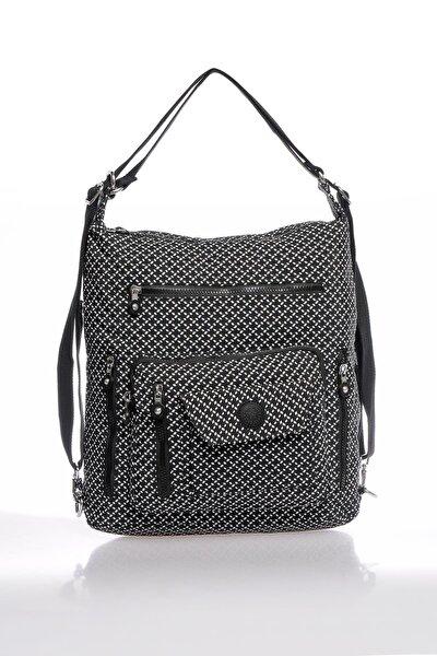 Smbky1205-0127 Siyah/beyaz Kadın Omuz Ve Sırt Çantası